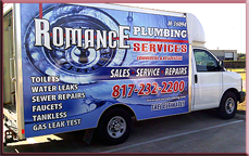 Romance Plumbing Services are master plumbers that provide residential and commercial plumbing services from simple pipe cleaning to slab leaks to remodeling. No job is too big or too small. (817) 232-2200